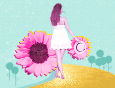 Woman in white dress with her back to us walking down a yellow brick road with pink flowers