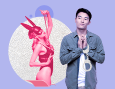 an Asian man with handcuffs and a white woman wearing a sexy lingerie and a rabbit-like mask holding a rope