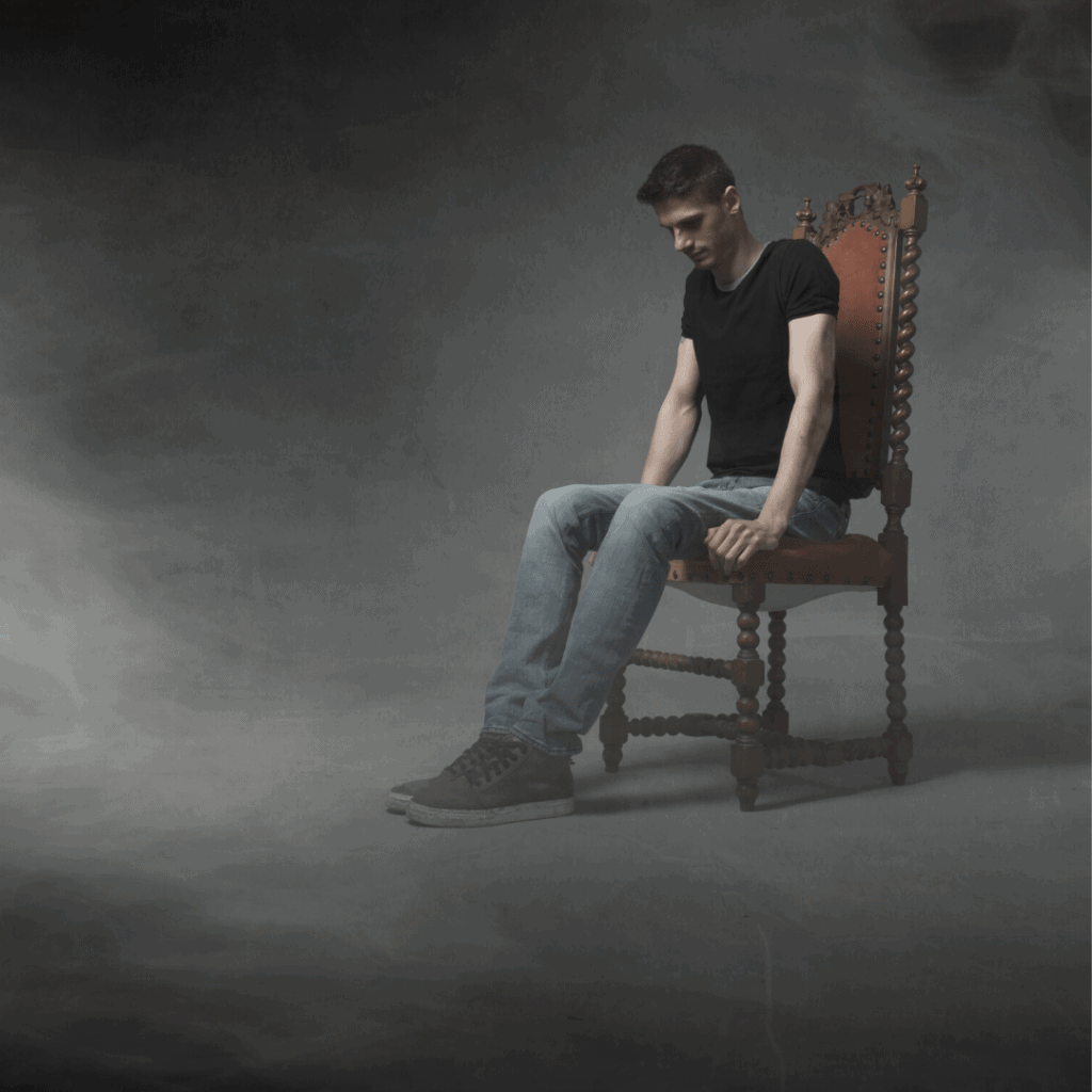 man sitting alone and deep thinking