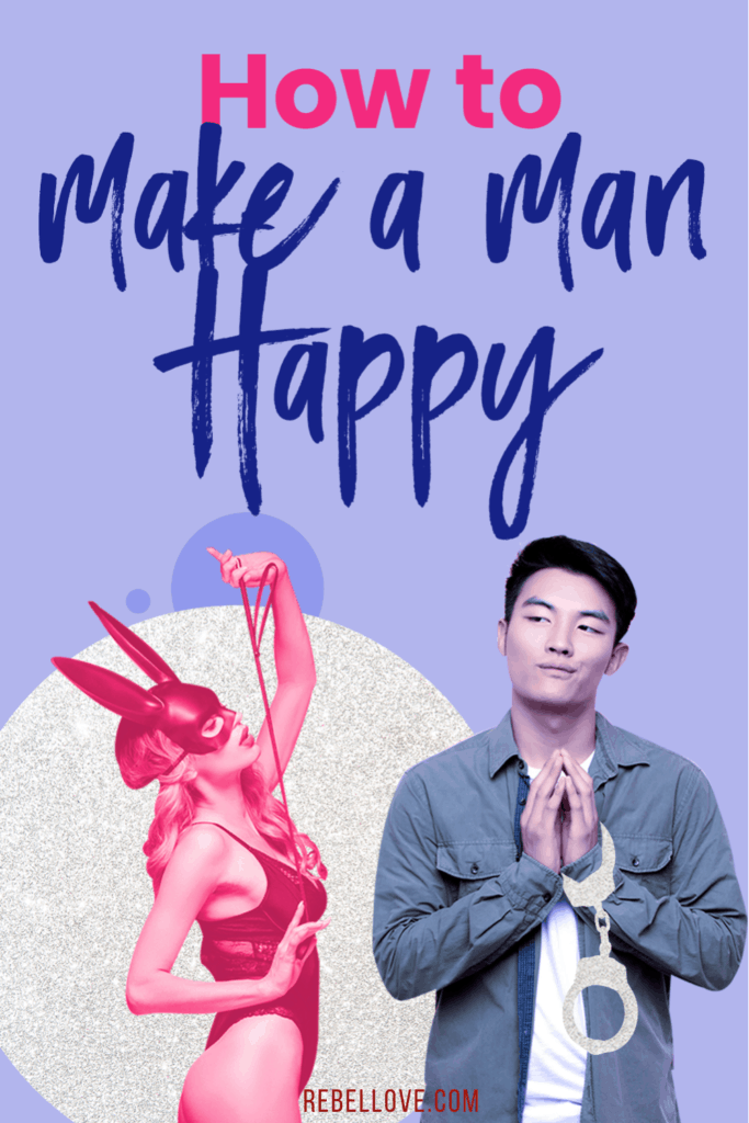 "a pinterest pin that says ""How To Make A Man Happy"" with an image of an Asian man with handcuffs and a white woman wearing a sexy lingerie and a rabbit-like mask holding a rope"