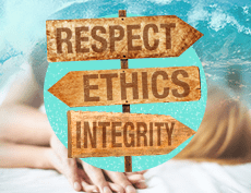 a banner image of 3 arrows alternately in opposite directions with the word Respect, Ethics and Integrity on each arrow with a background of a big sea wave on the right and a man on top of a woman kissing her neck on the left