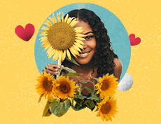 an image of a happy black woman holding a big sunflower and surrounded by sunflowers and hearts in yellow background