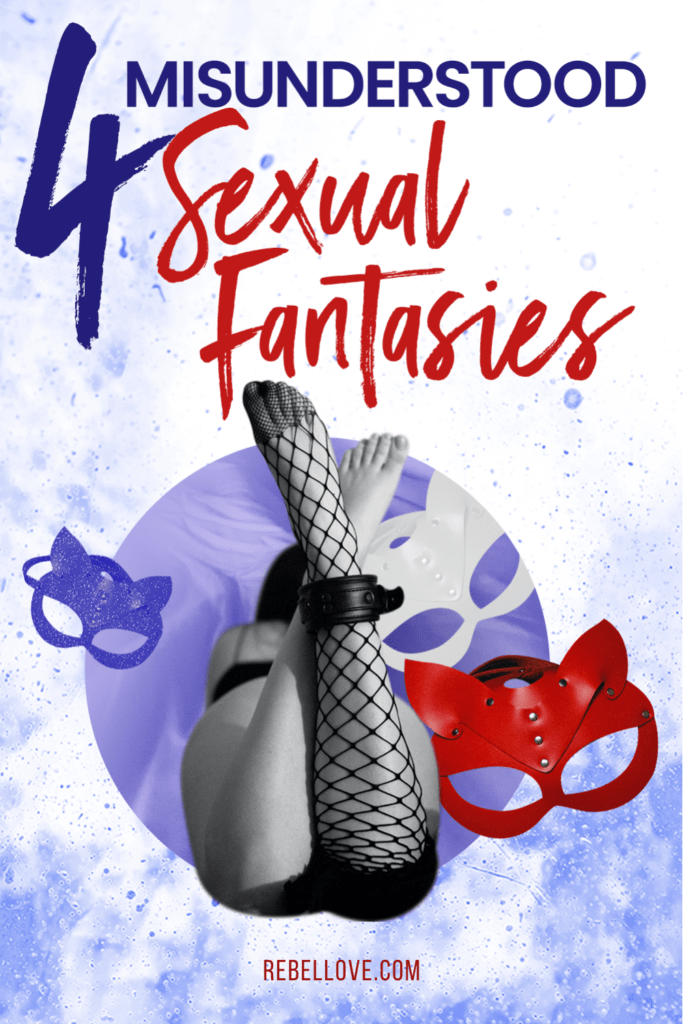 """a pinterest pin that says """"4 misunderstood sexual fantasies"""" with an image of a white woman lying on her stomach wearing a sexy lingerie with a crossed legs, a red mask on the right"""