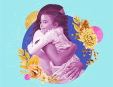 an image of an adult woman and a female child hugging each other with a big circle and flowers in the background