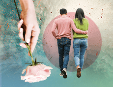 a featured image of a couple walking with the man's arms around the woman's waist and an image of a lady's hand holding a pink stem rose