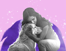 an image of a woman embracing a dog