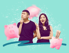 an image of an Asian man with his hands on his chin thinking and an image of an Asian woman with 3 piggy banks in the background surrounding them