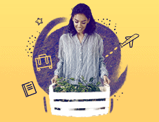 a banner image with a black woman holding a basket that has a plant inside with an icon images of luggage, journal and a plane in the background