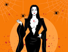 an image of an animate sexy woman wearing a vampire-like costume showing her cleavage, wearing a red pendant necklace and red lip stick with spiders and spider web in the background