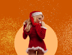 an image of a sexy woman wearing a Santa Claus dress with her butt showing off and glitters around her