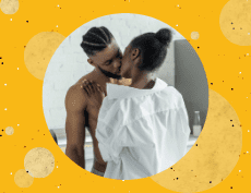 an image of a top less black man and woman wearing white long sleeves kissing each other with a yellow background filled with dots and circle elements