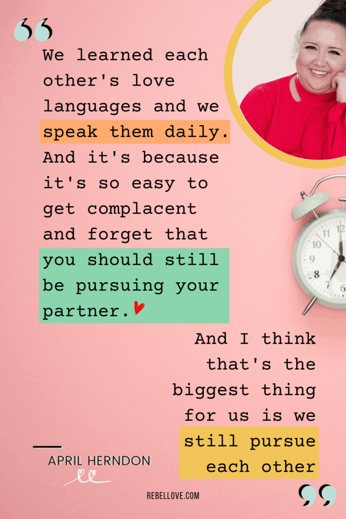a Pinterest pin quote from a snippet of Rebel Love Podcast Episode 4 with April Herndon
